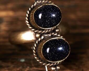 Cairo Night gem ring, Double ring, Gemstone, Galaxy Ring