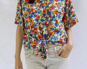 Vintage Floral Shirt / oversized blouse / button down shirt / silk summer top / short sleeve / 80's/ primary colors