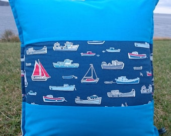 Sailboat Cushion, blue, square, boats, yachts, nautical, seaside, coastal, handmade, cornwall