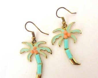 1990s Palm Tree Earrings, Summer Earrings, Palm Tree, Holiday Jewellery, Holiday; Dangle Earring, Vintage Earring, 90s Jewellery