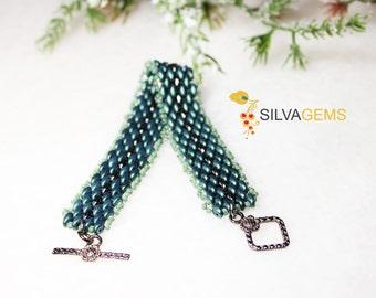 Green and Hematite Colours Glass Beaded Handmade Bracelet. Steel and Viridian Green Bracelet. Fern Green Bracelet. Metallic Green Bracelet.