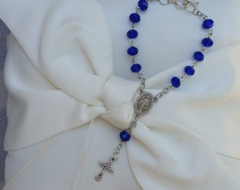 Dark blue crystal one decade car rosary with Miraculous Medal center