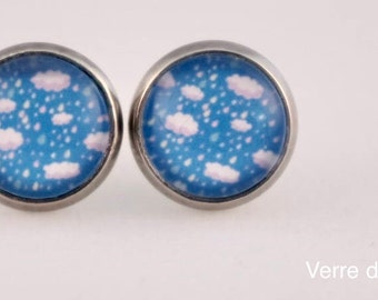 Earrings glass cabochon clouds in the sky
