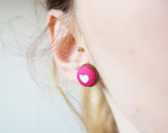 Pink heart earrings made of fabric