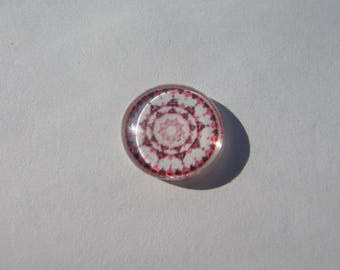 Cabochon 14 mm round domed with a mandala pattern