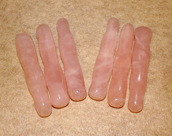 Rose Quartz Wands, Rose Quartz Twisted Massage Wand, Reiki Wand