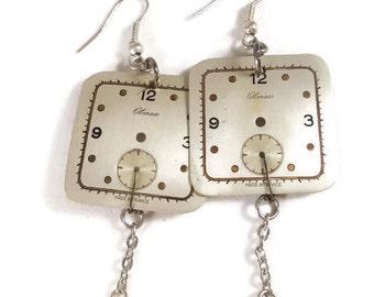Old dial steampunk earrings