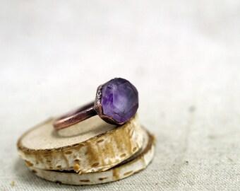Rosecut Fluorite Ring, Purple fluorite ring, Raw Crystal, Electroformed, Copper Ring, violet Fluorite, 6.5 US, 16.75 DE,  120