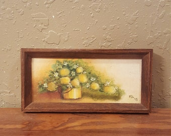 Tiny vintage framed original oil painting.  Soft yellow flowers in a yellow can.  Painted in 1978.