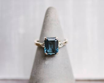 Topaz Diamond Ring Custom Engagement Ring Gemstone Ring Gift For Her Gold Ring Wedding Ring Gift For Mom Bridal Jewelry Wedding Jewelry