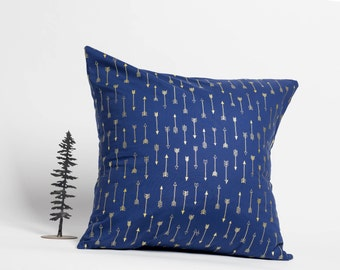 20 x 20 throw pillow, toss cushion, blue and gold, arrows, michael miller fabric