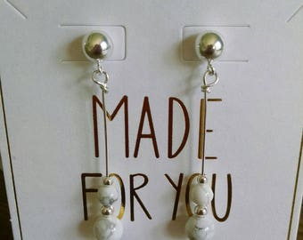 Howlite and Sterling Silver Earrings