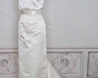 Long wedding skirt Floor length skirt Ivory silk bridal skirt train Wedding separates Modern pencil maxi wedding skirt