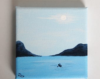 Fisher in the Fjord Acrylic Painting 10x10cm Stretched Canvas Home or Office Decor