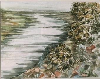 Little River View Watercolor