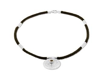 Silver necklace. Maya calendar necklace. Bohemian garnet necklace. Mayan amulet. Handmade jewelery.  Unique designed gift.