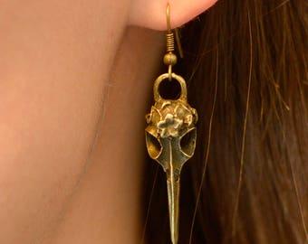 Bronze Bird Skull Earrings