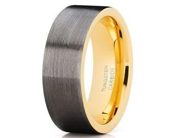 Yellow Gold Tungsten Wedding Band Men & Women Tungsten Carbide Ring Gunmetal Tungsten Ring Anniversary Band Brush
