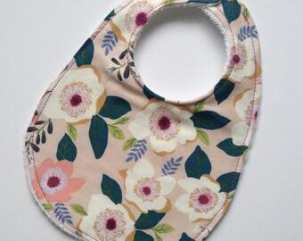 Flower show flower print terry-lined baby bib