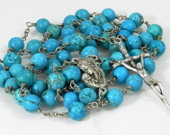 Turquoise Bead Rosary (#41605)