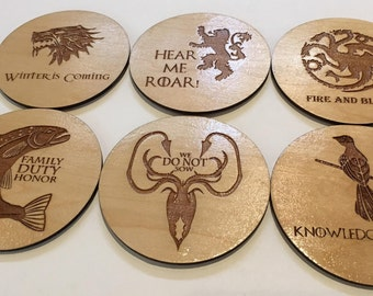 Laser Cut Game of Thrones Coasters