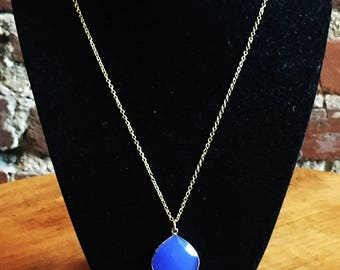 18K Gold Plated Necklace with Faceted Chalcedony Teardrop Pendant