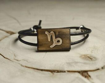 Bracelet Bois Récupéré, Cuir et Argent - Signe Astrologique Capricorne