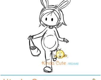 Easter girl digital stamp (black/white only). Instant download. For easter cards and other easter projects.
