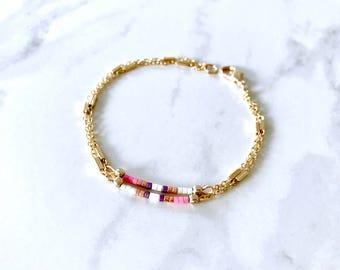 Boho Colourful bracelet Thin bead bracelet Skinny bracelet Double Layer bracelet Friendship bracelet Double stacking bracelet Double strand