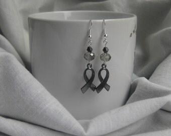 awareness ribbon, brain cancer, asthma awareness, gray awareness ribbon, aphasia ribbon, borderline personality disorder, awareness earrings