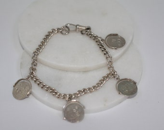 Sterling Silver Charm Bracelet. Four 'Love Heart' secret message disc Charms. Cryptic Message. Silver bracelet, Silver Jewellery. Gift.