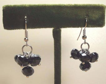 Vintage 70's Black Glass Crystal Cluster Drop Dangle Earrings