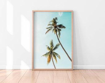 Palm Trees Printable, Tropical Wall Art, Palm Trees Art Print, California Print, Palm Tree Photography, Nature Art, Large Pastel Art Print