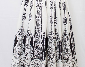 Striking Black and White Full Skirt with clear Sequins