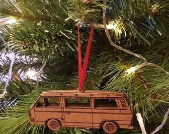 VW T25 Tin Top Christmas Tree Engraved Wooden Ornament Decoration