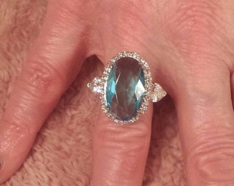 Aquamarine & White Topaz Heavily Silver Plated 15 ct. Large Oval Gemstone Ring  Size - 6