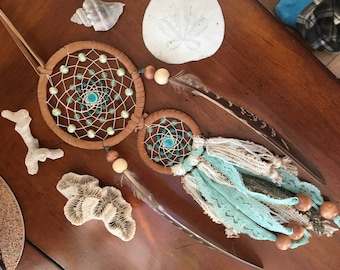double dreamcatcher // beachy vibes with teals and golds // handmade