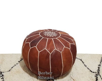Pair (2) Chestnut Brown Moroccan Leather Pouf, Moroccan Pouf Ottoman Footstool Poof Poufs