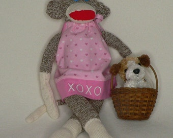 Embroidered Sock Monkey - Cotton Flannel, Pillow Case Dressed