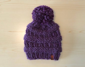 chunky eggplant knit hat with pom (adult)