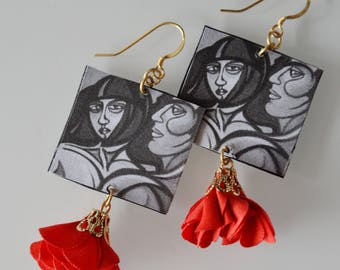 Paper Earrings-inspired by the painting: The couple, Laura Masio
