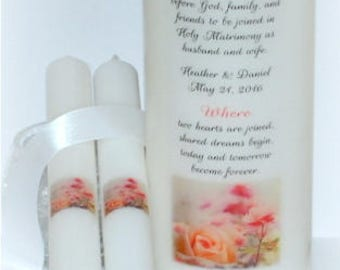 Eternal love wedding unity candle keepsake, handmade wedding unity pillar, designs underneath the wax, Christian everlasting wedding candles