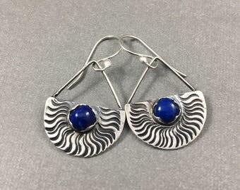 Lapis Lazuli and Sterling Silver dangle earringd blue lapis earrings  OOAK earrings