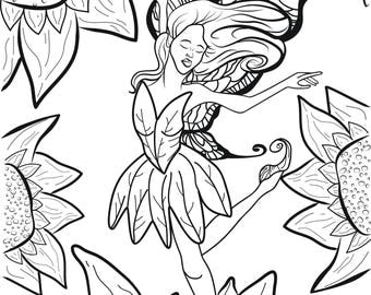 Adult Coloring Page Dancer Ballerina Fairy Leaping On Sunflower Original Vector Illustration by Candace Byington