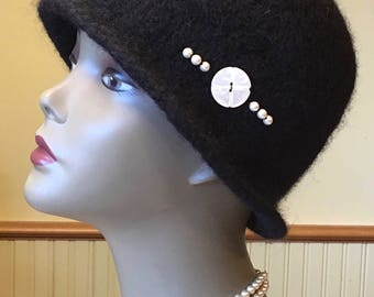 Black and Pearl 100% wool handmade felted hat in a timeless design