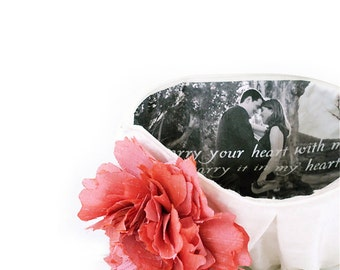 Personalized Gift for Mother Of The Bride from Daughter Clutch with Photo Lining Gift for Mother In Law from Bride Silk Wedding Clutch Purse