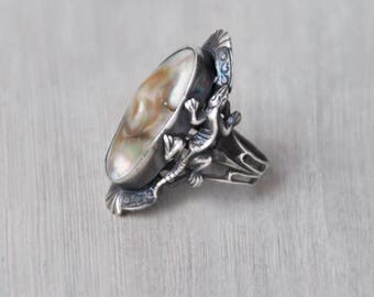 Antique Blister Pearl Ring - sterling silver ornate unusual lizard setting - Size 4 - abalone humpback shell vintage ring