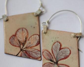 Blade Enamel Earrings - OOAK - Hand painted botanical motif - N. 5