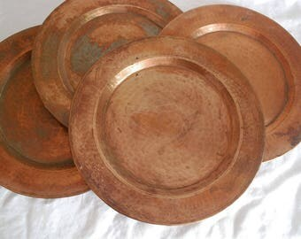 Mexican Copper Charger, Hammered Copper Plate, Serving Platter Tray, Rustic Kitchen, Metal Charger, Rolled Edge, Cabin Chic Decor
