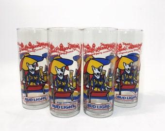 Budweiser Drinking Glasses, Spuds Mackenzie Cups Vintage 80s Beer Glasses Bud Light Cups, Barware Drinkware Man Cave  Glasses King of Beers
